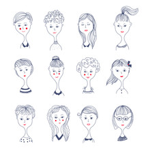 Girls Faces Avatar Set In Doodle Style. Vector Graphic Illustration