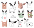 Vector collection of cute doodle deer. Adorable objects isolated on background