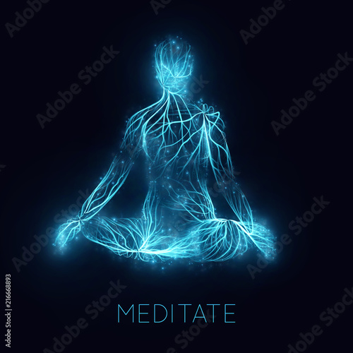 Obraz Vector concept of human meditaion. Sacral energy flows through prayer body on his way to enlightment. Yoga pose of relaxation. Asian spiritual practice. Magical glowing energy routes and spakrs. - fototapety do salonu