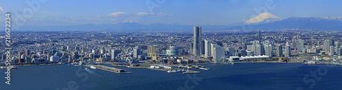 横浜港周辺/みなとみらい空撮 Canvas Print