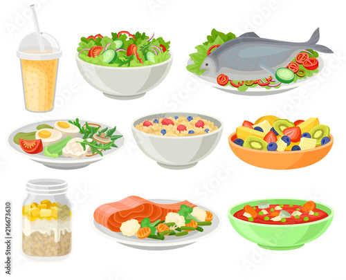 Fototapeta Delicious and fresh dishes set, healthy eating concept vector Illustrations on a white background obraz