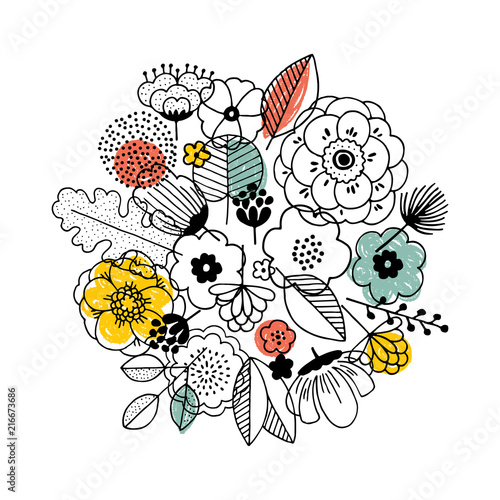 Flower bouquet composition. Linear graphic. Florals background. Scandinavian style. Vector illustration