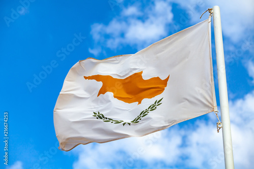 National flag of Cyprus waving on a flagpole