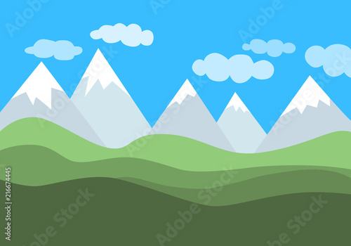 Foto op Plexiglas Blauw Simple flat vector landscape with mountains, green hills and blue cloudy sky.