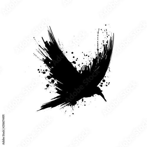 Obraz na plátně Grunge raven silhouette