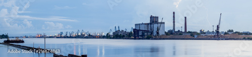 Foto op Plexiglas Poort Panorama of marine port in Riga - the capital of Latvia and famous Baltic marine port in East Europe