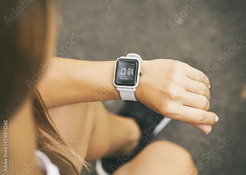 Smart watch on the woman's hand