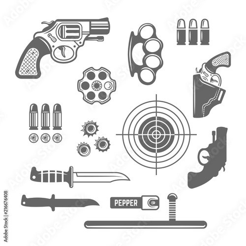 Gun shop, shooting club set of vector elements Canvas Print
