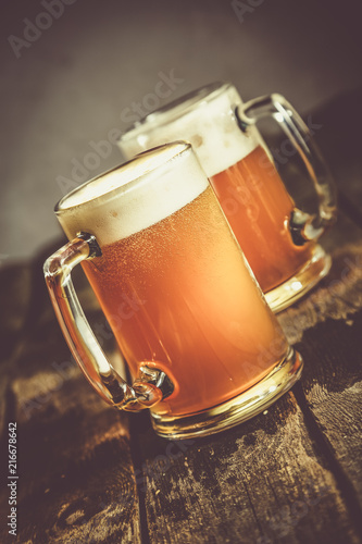 Spoed Foto op Canvas Bier / Cider Beer in glasses on rustic background