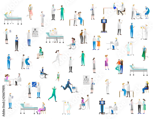 Fotografering  Hospital vector illustration icon collection set