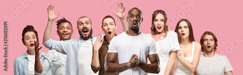 Fotografie, Tablou  The collage of faces of surprised people on pink backgrounds