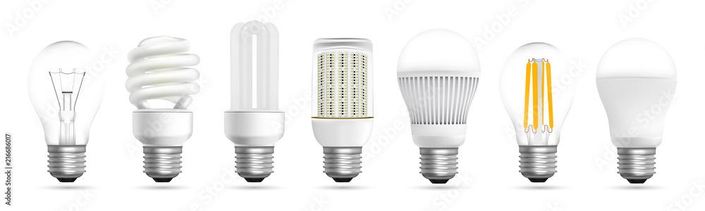 Fototapeta Light bulb evolution realistic effect vector