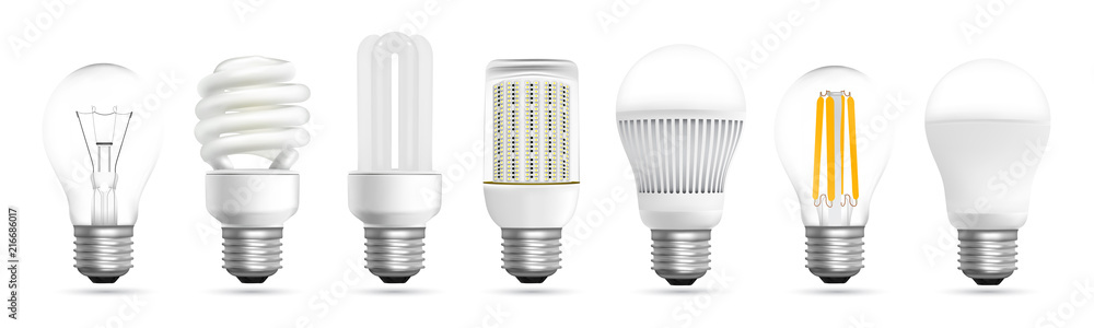 Photo  Light bulb evolution realistic effect vector