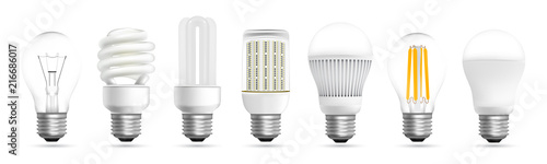 Fotografiet Light bulb evolution realistic effect vector