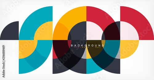 Obraz Minimal circle abstract background design, multicolored template for business or technology presentation or web brochure cover layout, wallpaper - fototapety do salonu
