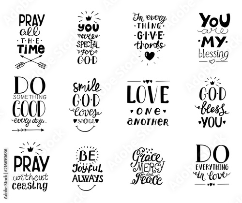 Set of 12 Hand lettering christian quotesYou blessings, Do good every day, Grace, mercy,peace, Love one another, Pray,God bless you, Give thanks. Wall mural