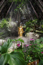 Low Angle View Of Golden Buddha Statue Against Aerial Roots In Forest At Wat Saket