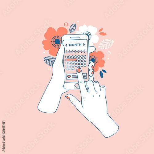 Fotografía Woman hand holding smartphone with menstruation cycle calendar