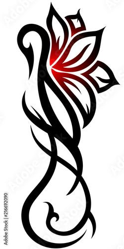 1376e4c2d Swan flower tribal tattoo on white background - Buy this stock ...