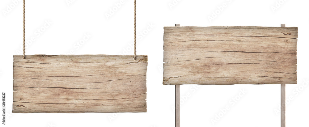Fototapety, obrazy: old weathered light wood sign isolated on white background