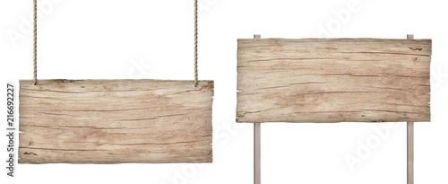 Fotobehang Hout old weathered light wood sign isolated on white background