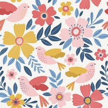 Cute Vector Seamless Pattern W...
