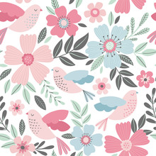Seamless Floral Pattern With Birds In Delicate Pastel Colors. Spring Vector Background.