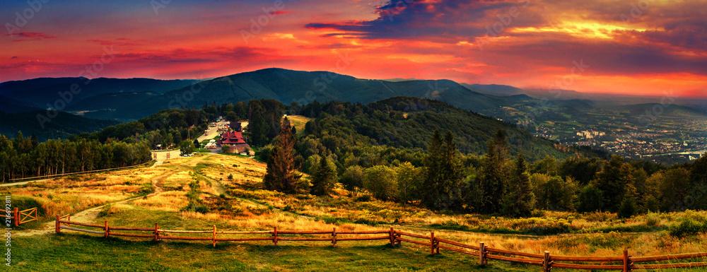 Fototapety, obrazy: View for Równica peak in Beskidy mountains