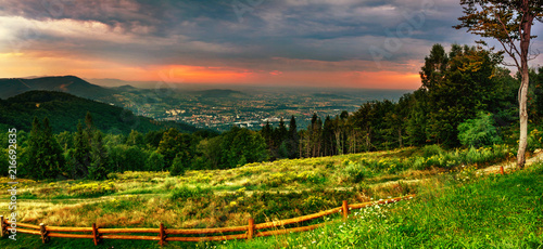 Foto auf Gartenposter Gebirge View for Równica peak in Beskidy mountains