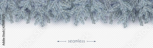 Stoffe zum Nähen Christmas, New Year, Winter border with realistic branches of Christmas tree in the frost