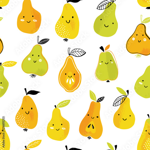 Funny pear vector pattern. Seamless background with colorful summer fruits with faces.