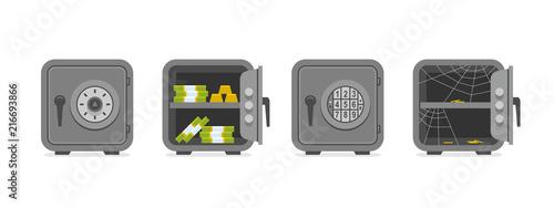 Fototapeta Set of security metal safes. flat style. isolated on white background obraz