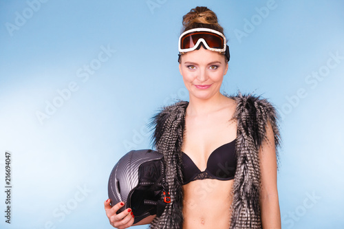 Foto op Canvas Wintersporten Woman wearing sexy winter sport outfit