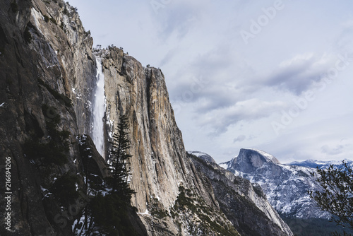 Low angle view of mountains at Yosemite National Park against sky during winter
