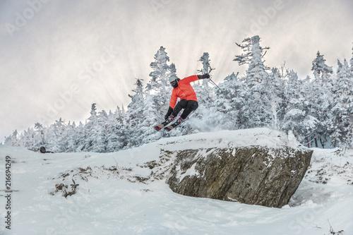 Fototapeta Full length of man doing stunt while skiing on snow against trees during winter