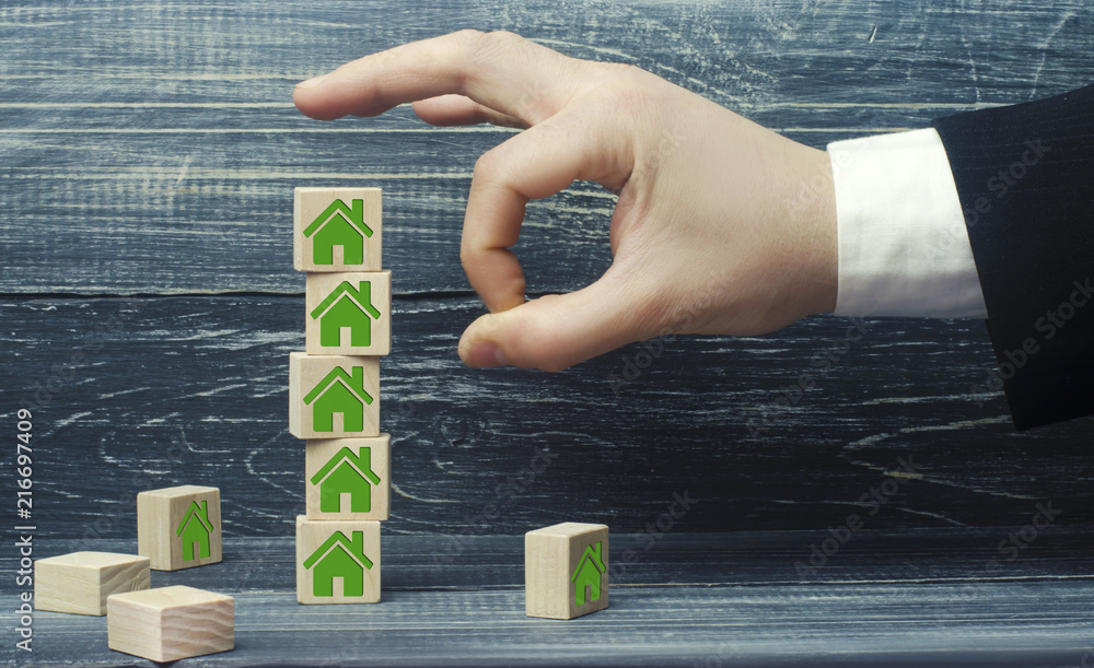 Fototapeta destruction of business and real estate. confiscation of property. unfair competition. restructuring of business and debt. renovation of housing and demolition of old buildings.
