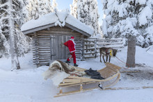 Santa Claus And Sleigh, Ruka (Kuusamo), Northern Ostrobothnia Region, Lapland, Finland