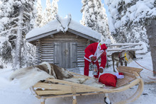 Santa Claus Preparing The Sleigh, Ruka (Kuusamo), Northern Ostrobothnia Region, Lapland, Finland