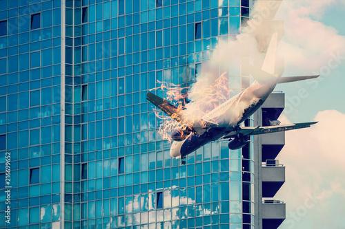 Fotografía Plane crash, crashed airplane, air accident
