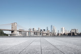 Fototapeta Nowy York - empty street with modern city new york as background