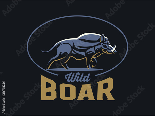 Wild boar with tusks. Wallpaper Mural