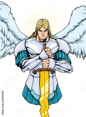 Tela Full color illustration of Archangel Michael holding his sword.