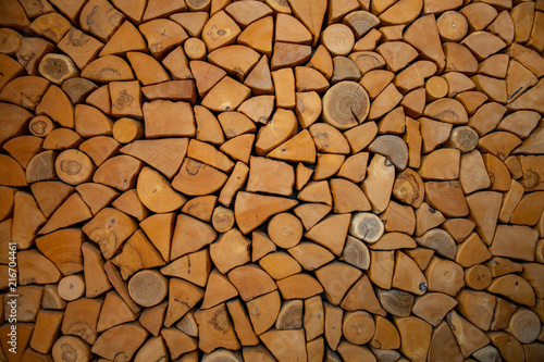 Foto op Plexiglas Brandhout textuur wall firewood , Background of dry chopped firewood logs in a pile