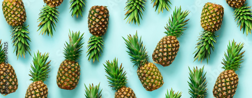 Photo Bright pineapple pattern for minimal style