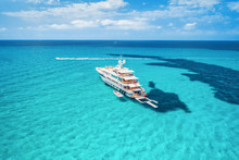 Yacht On The Azure Seashore In...