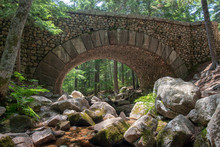 Bridge Made From Round Rocks In Acadia National Park, The First And Only One Of Its Kind, Build In 1917