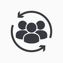 Customer Icon. Customer Retention, Returning Clients Vector Glyph Icon, Solid Style. Return Sign. Managed Care. Customer Relationship. Practice Management - Vector