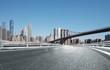 asphalt street with modern city new york