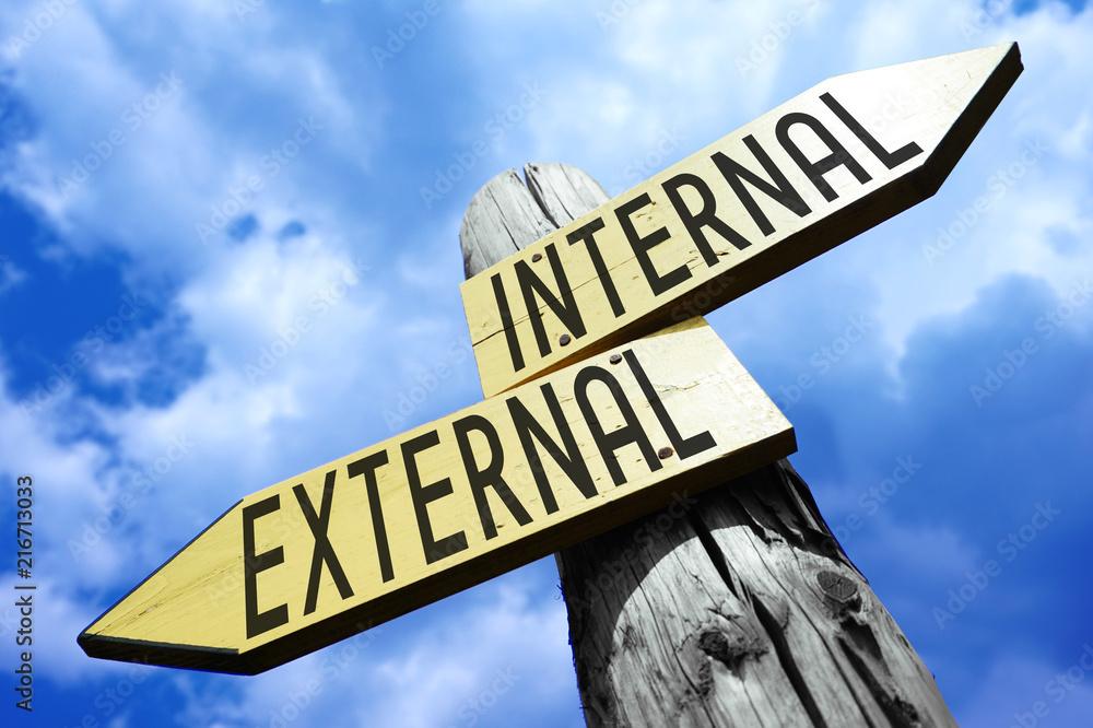 Fototapety, obrazy: Internal, external - wooden signpost