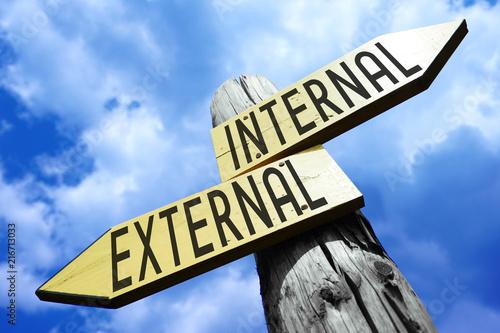 Fototapeta Internal, external - wooden signpost obraz